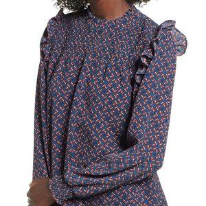 Leith ruffle shoulder blouse